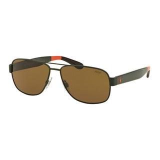 Polo Ralph Lauren Men's PH3097 930673 Green Metal Pilot Sunglasses