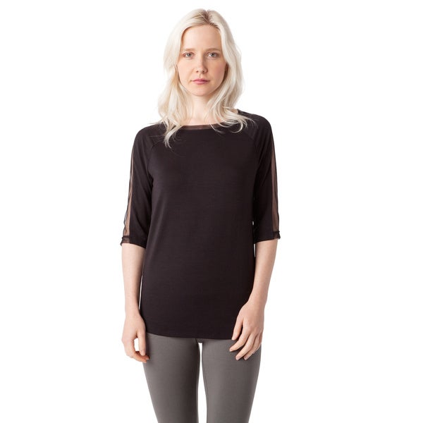 AtoZ Women's Black Cotton Elbow-sleeve Mesh Top