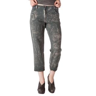 AtoZ Women's Blue/Grey/Green Cotton 2-ply Boyfriend Pants