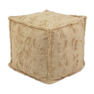 Luxe Camel 12.5-inch x 12.5-inch Corded Hassock