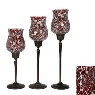 Red Glass Mosaic 3-piece Candle Holder Set