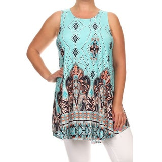 MOA Collection Women's Plus Size Ornate Print Sleeveless Top