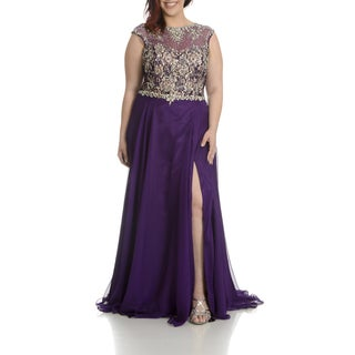 Mac Duggal Women's Plus-size Embellished Lace-bodice Evening Gown