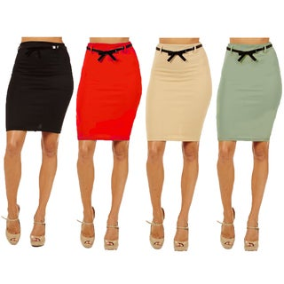 Women's Assorted Rayon/Spandex Pack of 4 High Waist Pencil Skirts