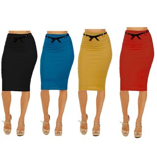 Dinamit Women's Multicolored Rayon/Spandex High-waist Below-knee Pencil Skirts (Pack of 4)
