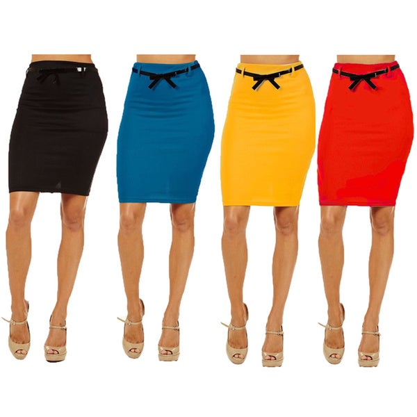 Women's Black/Blue/Yellow/Red High-waist Pencil Skirts (Pack of 4)