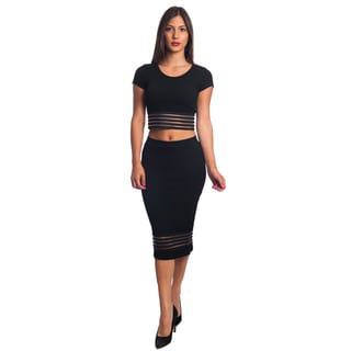 Rock Revolution Women's Bodycon Cotton-blended 2-piece Crop Top and Skirt Set