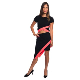 Special One Women's Multicolored Cotton and Polyester Sexy Bodycon Crop Top and Mini Skirt Outfit Dress 2-piece Set