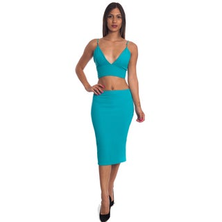 Special One Women's Multicolor Cotton/Polyester Sexy Bodycon Crop Top and Mini Skirt 2-piece Set