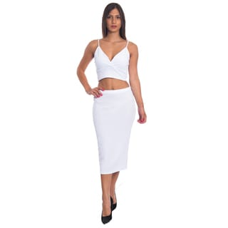 Special One Women's Cotton/Polyester 2-piece Bodycon Crop Top and Skirt Set