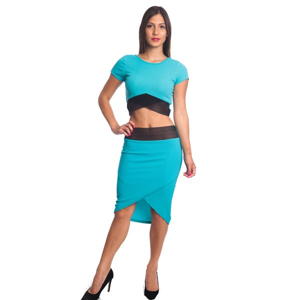 Special One Women's Multicolor Cotton/Polyester Sexy Bodycon Crop Top and Mini Skirt Outfit Dress 2-piece Set