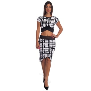 Special One Women's Black Cotton/Polyester Sexy Bodycon Crop Top and Miniskirt Outfit Dress 2-piece Set