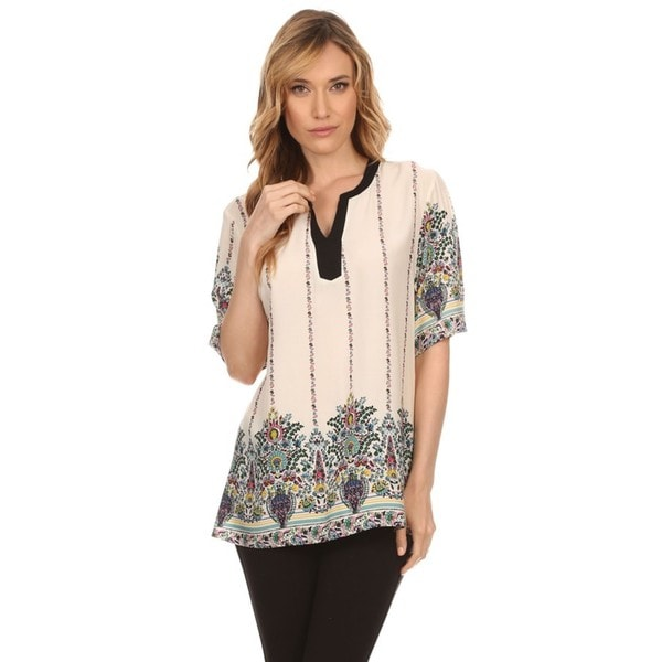 High Secret Women's Short-sleeved Beige Cotton-blended V-neck Floral-print Blouse