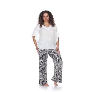White Mark Women's Black and White Paisley-print Polyester and Spandex Plus-size Palazzo Pants