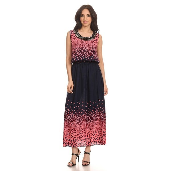 High Secret Women's Sleeveless Printed Embellished Maxi Dress