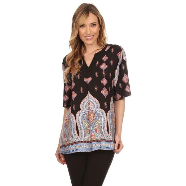 High Secret Women's Paisley Print Short-sleeved Blouse