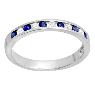 14K Gold Round White, Blue Diamond Anniversary Wedding Stackable Ring Band