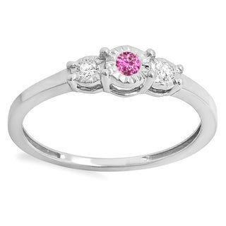 Ladies' Sterling Silver 1/5-carat Round-cut Pink Sapphire and White Diamond Three-stone Promise Ring