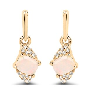 Malaika 14k Yellow Gold 0.57-carat Genuine Ethiopian Opal and White Diamond Earrings