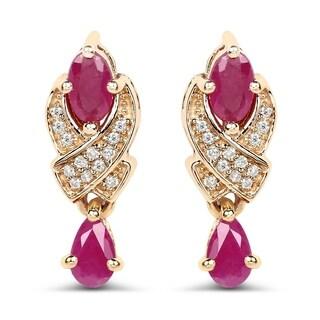 Malaika 14k Yellow Gold 1.12 Carat Genuine Ruby and White Diamond Earrings