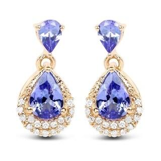 Malaika 14k Yellow Gold 1.12k Genuine Blue Tanzanite and White Diamond Earrings