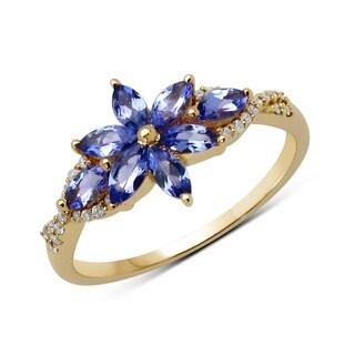 Malaika 14k Yellow Gold 0.72-carat Genuine Blue Tanzanite and White Diamond Ring