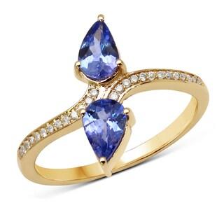 Malaika 14k Yellow Gold 0.82-carat Genuine Tanzanite and White Diamond Ring