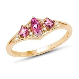 Malaika 14k Yellow Gold 0.42-carat Genuine Pink Tourmaline and White Diamond Ring