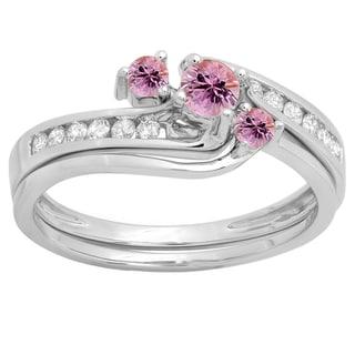 14k Gold 1/2-carat Round Pink Sapphire and White Diamond Ladies' Bridal Swirl Engagement Ring Set