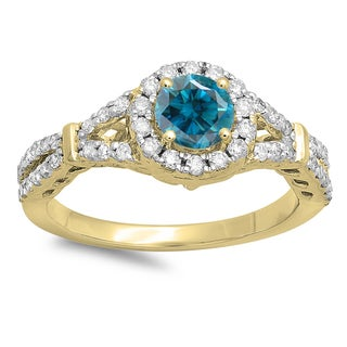 14k Gold 1ct TDW Round Blue and White Diamond Split Shank Bridal Engagement Halo Ring (H-I, I1-I2)