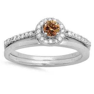 14k Gold Diamond Bridal Engagement Halo Ring Set