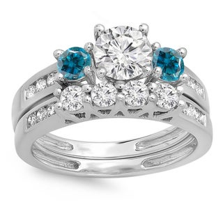 14k Gold 1 3/4-carat TDW Round Blue and White Diamond Bridal 3-stone Engagement Ring with Matching Band Set