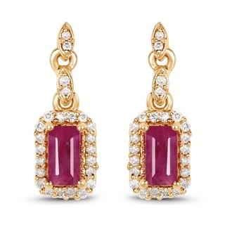 Malaika 14k Yellow Gold 0.78-carat Genuine Ruby and White Diamond Earrings