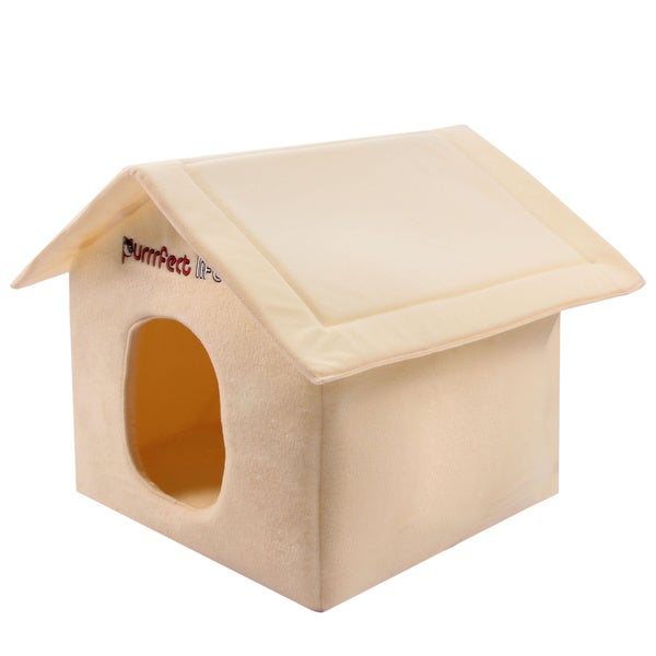 Purrrfect Life Yellow Polyester Foldable Cat House