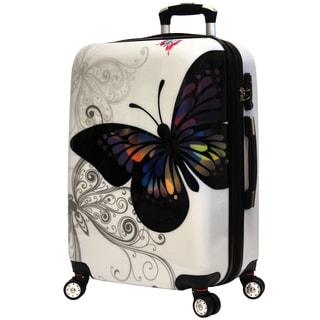 World Traveler Butterfly White Polycarbonate 25-inch Expandable Hardside Upright Spinner Suitcase
