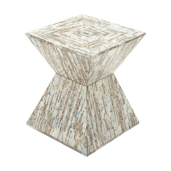 Brown, Grey Wood Shell Inlay Accent Table