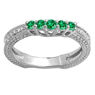 Women's 14k White Gold 3/8-carat Round-cut Green Emerald and White Diamond Wedding Band Guard Enhancer Ring