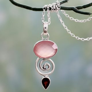 Handcrafted Sterling Silver 'Romantic Journey' Garnet Chalcedony Necklace (India)