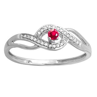 Women's 10k White Gold, Ruby, and Diamond Engagement Ring