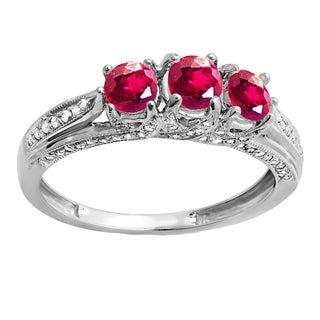 Women's 14k White Gold Ruby/ Diamond Engagement Ring