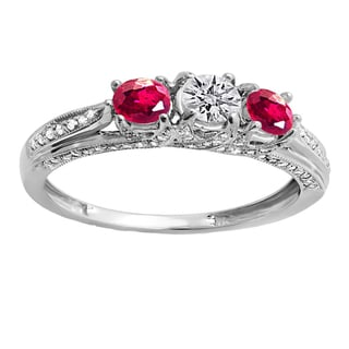 Women's 14k White Gold 1-carat Round-cut White Diamond and Ruby 3-stone Engagement Ring
