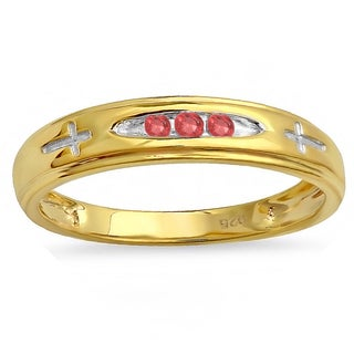 Men's 18k Yellow Goldplated Sterling Silver 1/6-carat Round-cut Ruby 3-stone Cross-design Band Ring