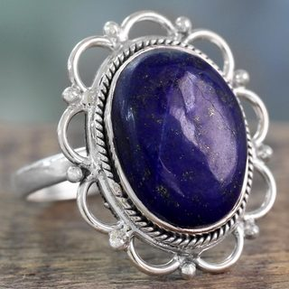 Handcrafted Sterling Silver 'Floral Jaipur' Lapis Lazuli Ring (India)