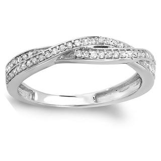 14k Gold 1/4ct TDW Round Diamond Anniversary Wedding Band Swirl Matching Ring (I-J, I2-I3)