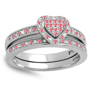 Sterling Silver 1/4-carat Round-cut Ruby and White Diamond Heart-shaped Bridal Engagement Ring Band Set