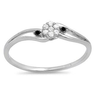 10k White Gold 1/10ct TDW Round White and Black Diamond Bridal Swirl Cluster Promise Ring (I-J, I2-I3)