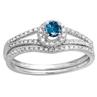 14k White Gold 1/2 ct. TDW Round Blue and White Diamond Ladies Bridal Halo Style Engagement Ring with Band (H-I & Blue, I1-I2)