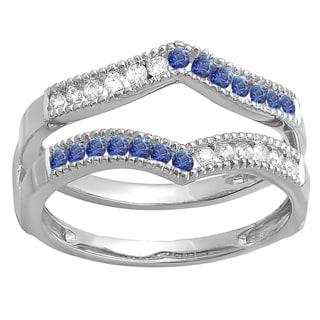 Ladies' 14k White Gold 1/2-carat Round-cut White Diamond and Blue Sapphire Millgrain Wedding Band Guard Double Ring