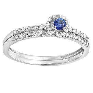 14k White Gold 1/3-carat Round-cut Blue Sapphire and White Diamond Halo-style Engagement Ring and Band Set