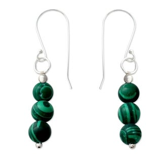 Handcrafted Sterling Silver 'Green Pebbles' Malachite Earrings (India)